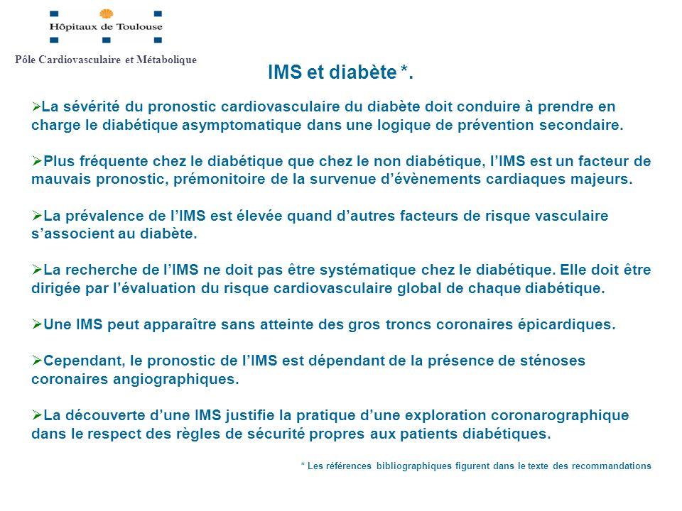 IMS et diabète *. La sévérité du pronostic cardiovasculaire du diabète doit conduire à prendre en charge le diabétique asymptomatique dans une logique