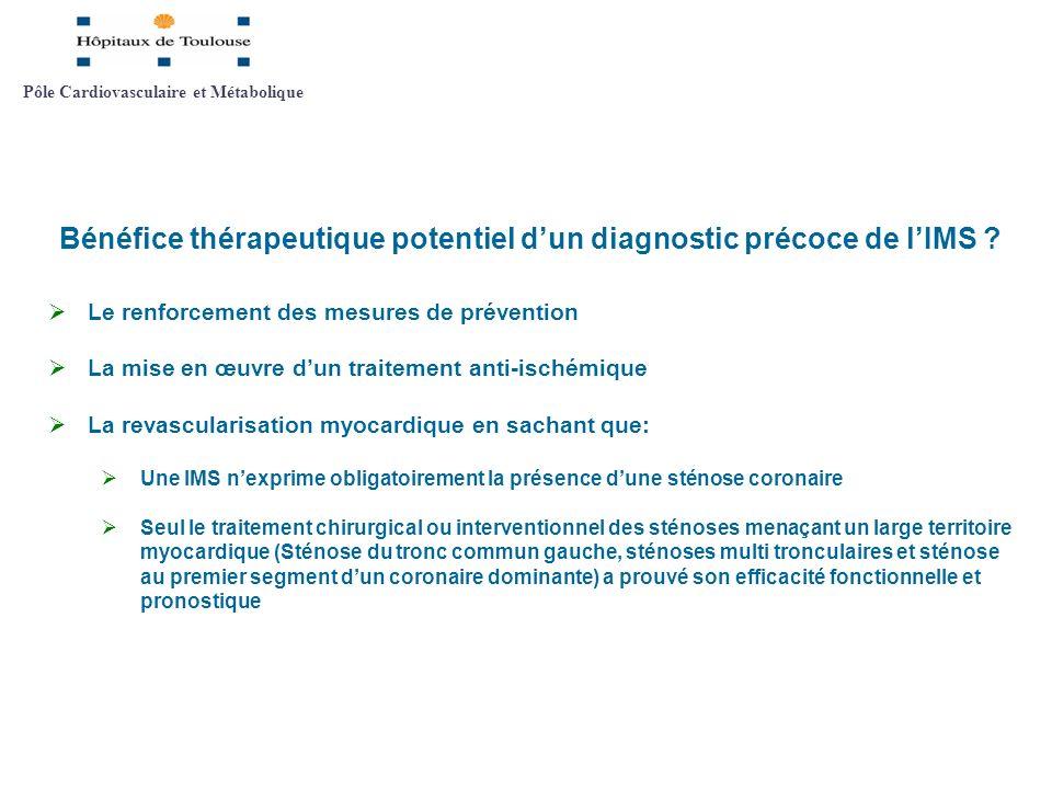 Bénéfice thérapeutique potentiel dun diagnostic précoce de lIMS ? Le renforcement des mesures de prévention La mise en œuvre dun traitement anti-isché