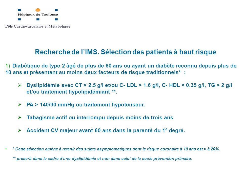 Recherche de lIMS. Sélection des patients à haut risque 1)Diabétique de type 2 âgé de plus de 60 ans ou ayant un diabète reconnu depuis plus de 10 ans