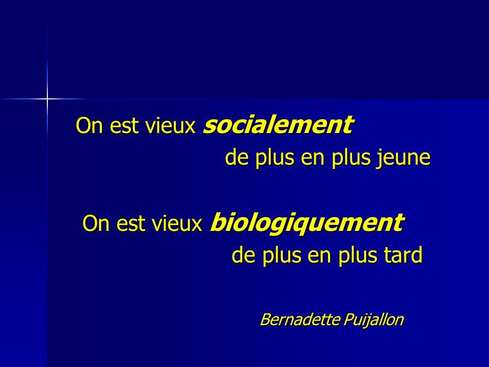 On est vieux socialement On est vieux socialement de plus en plus jeune de plus en plus jeune On est vieux biologiquement On est vieux biologiquement