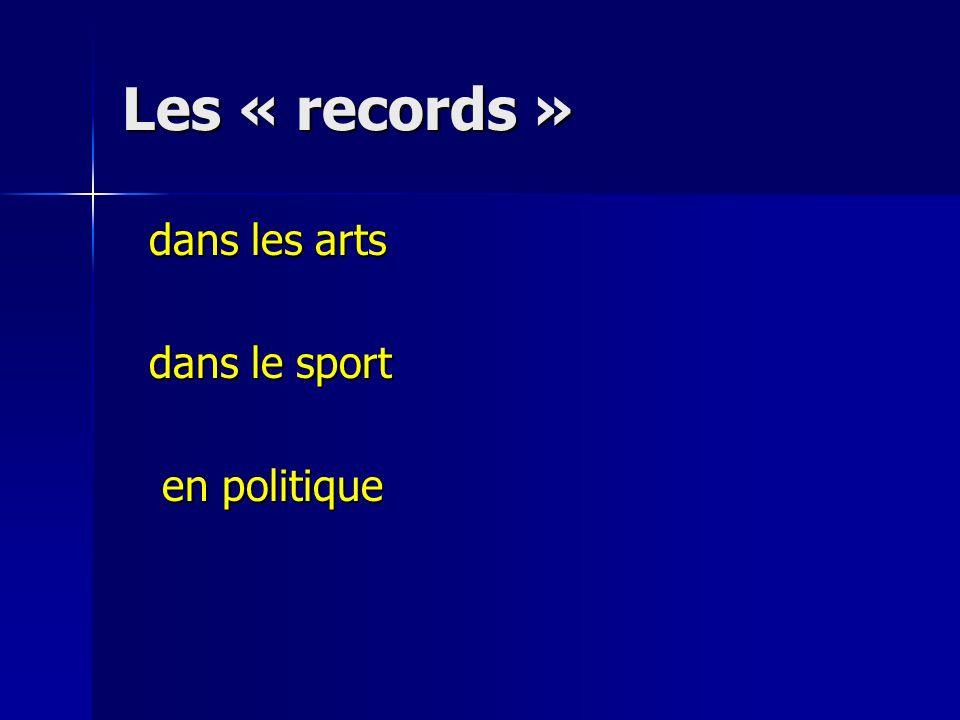 Les « records » dans les arts dans les arts dans le sport dans le sport en politique en politique
