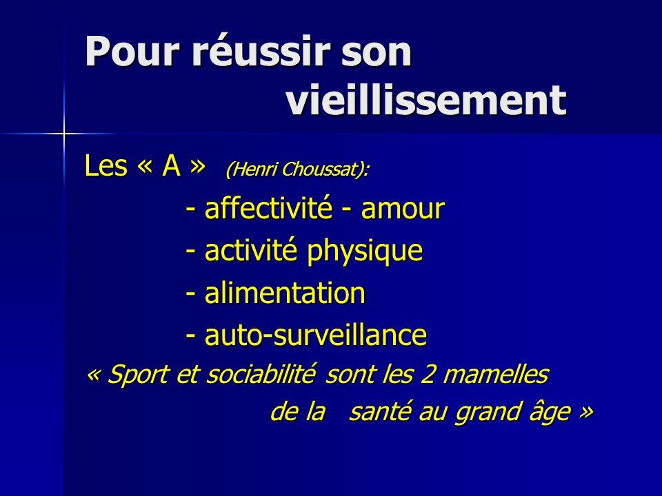 Pour réussir son vieillissement Les « A » (Henri Choussat): - affectivité - amour - affectivité - amour - activité physique - activité physique - alim