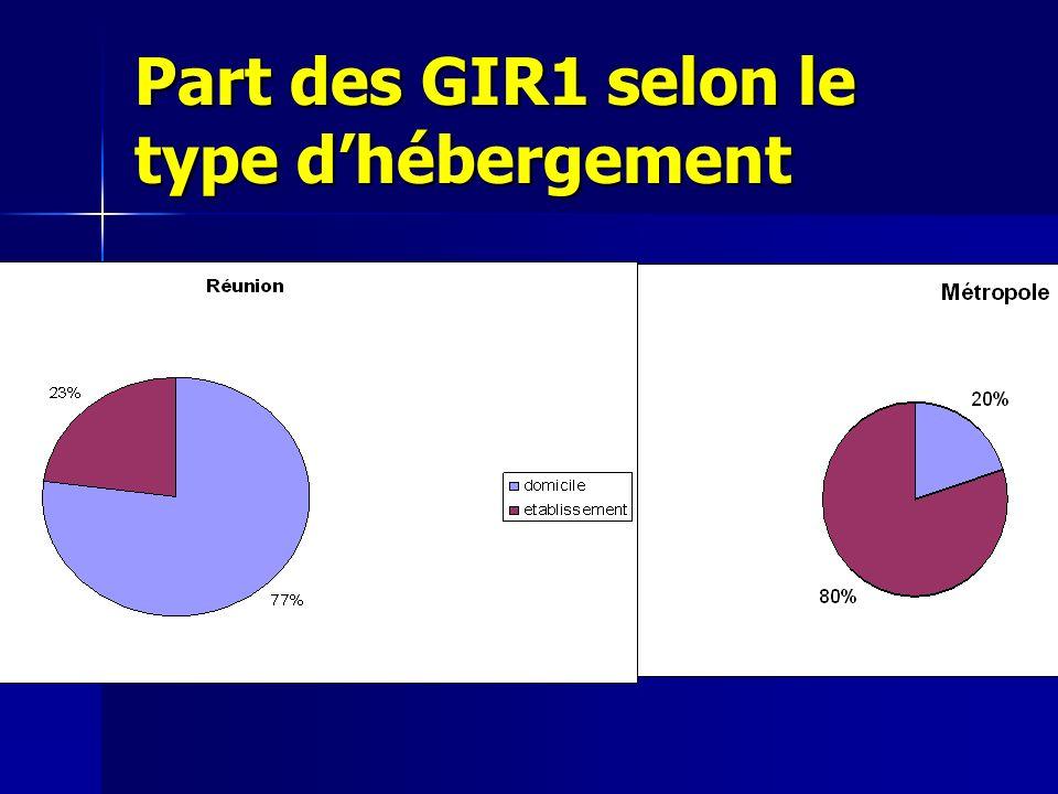 Part des GIR1 selon le type dhébergement