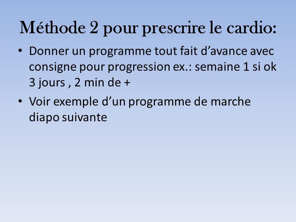 Méthode 2 pour prescrire le cardio: Donner un programme tout fait davance avec consigne pour progression ex.: semaine 1 si ok 3 jours, 2 min de + Voir
