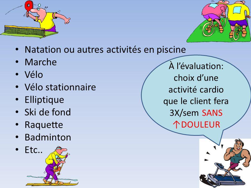 Natation ou autres activités en piscine Marche Vélo Vélo stationnaire Elliptique Ski de fond Raquette Badminton Etc.. À lévaluation: choix dune activi