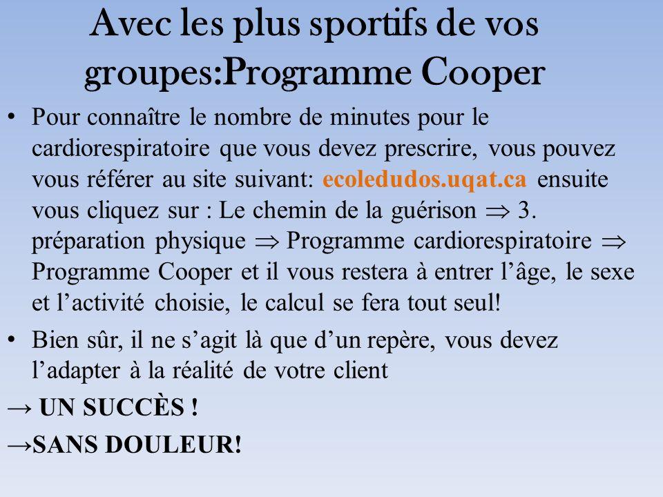 Avec les plus sportifs de vos groupes:Programme Cooper Pour connaître le nombre de minutes pour le cardiorespiratoire que vous devez prescrire, vous p