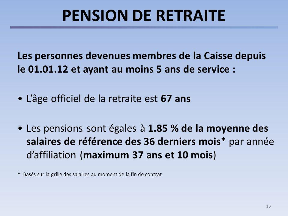 13 PENSION DE RETRAITE Les personnes devenues membres de la Caisse depuis le 01.01.12 et ayant au moins 5 ans de service : Lâge officiel de la retrait