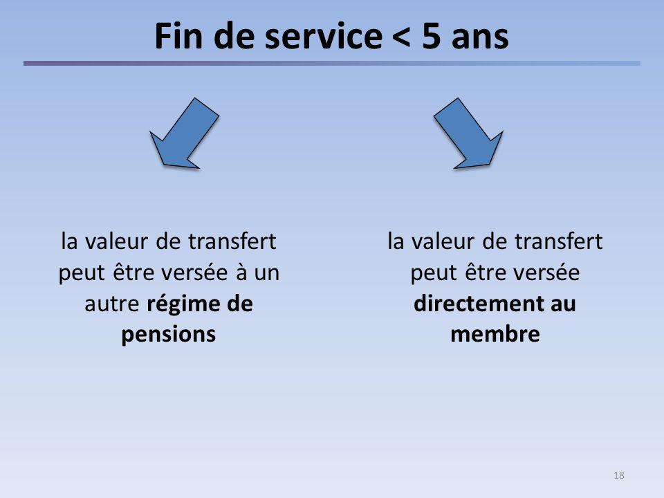 18 Fin de service < 5 ans la valeur de transfert peut être versée directement au membre la valeur de transfert peut être versée à un autre régime de p