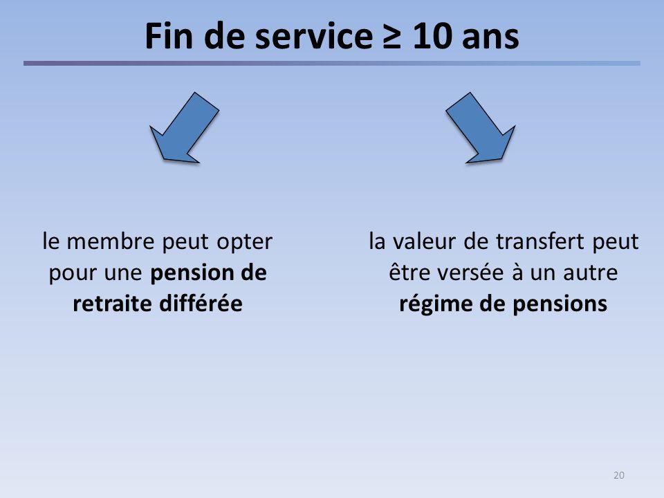 20 Fin de service 10 ans la valeur de transfert peut être versée à un autre régime de pensions le membre peut opter pour une pension de retraite différée