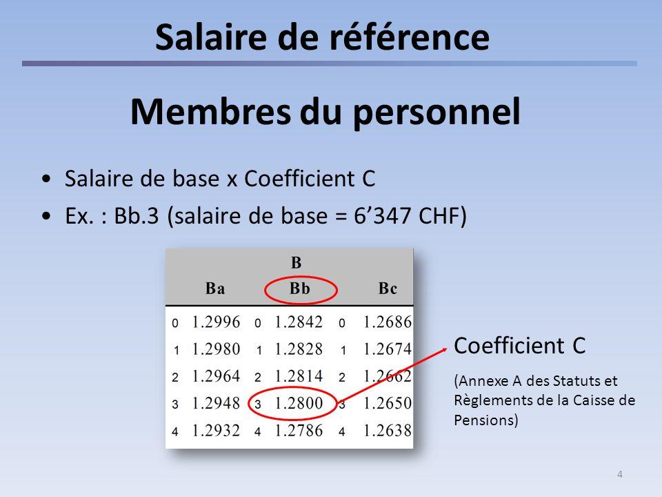 4 Salaire de référence Membres du personnel Salaire de base x Coefficient C Ex. : Bb.3 (salaire de base = 6347 CHF) Coefficient C (Annexe A des Statut