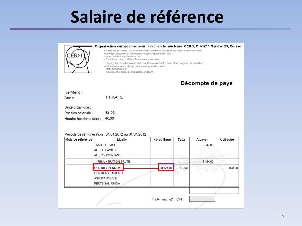 6 Salaire de référence