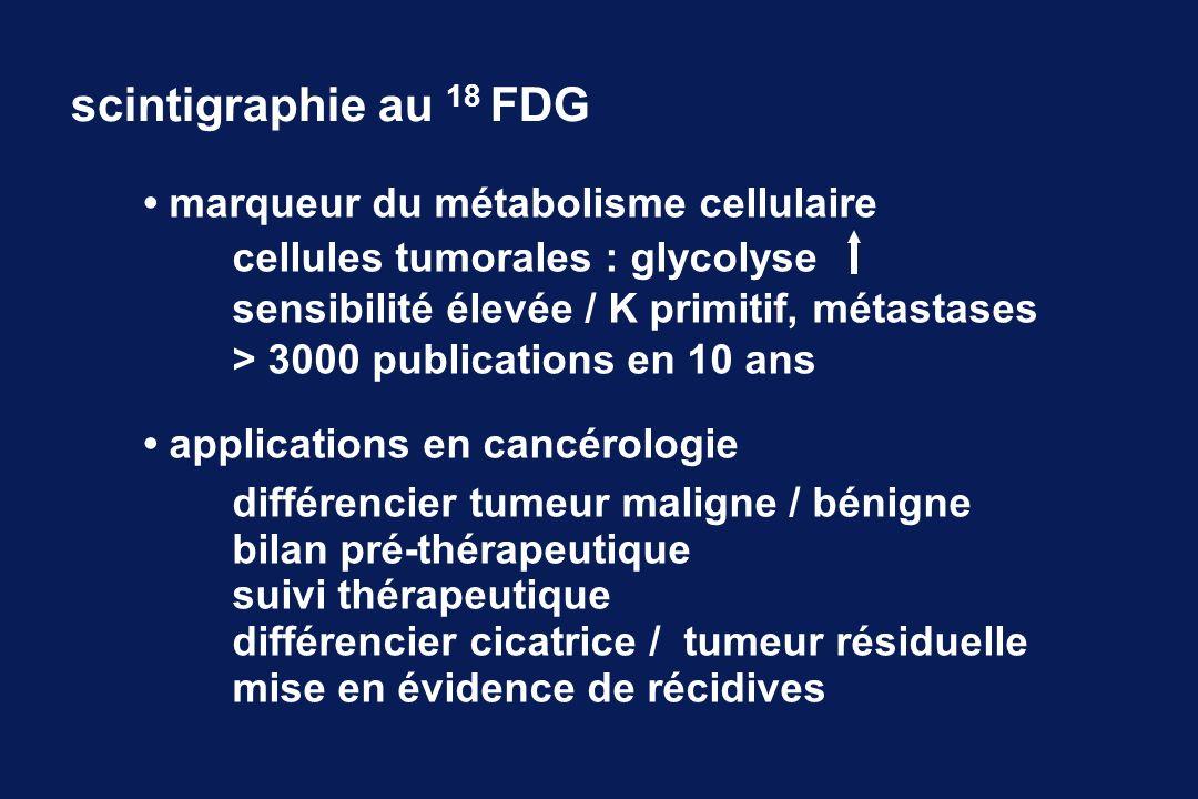 marqueur du métabolisme cellulaire cellules tumorales : glycolyse sensibilité élevée / K primitif, métastases > 3000 publications en 10 ans applications en cancérologie différencier tumeur maligne / bénigne bilan pré-thérapeutique suivi thérapeutique différencier cicatrice / tumeur résiduelle mise en évidence de récidives scintigraphie au 18 FDG