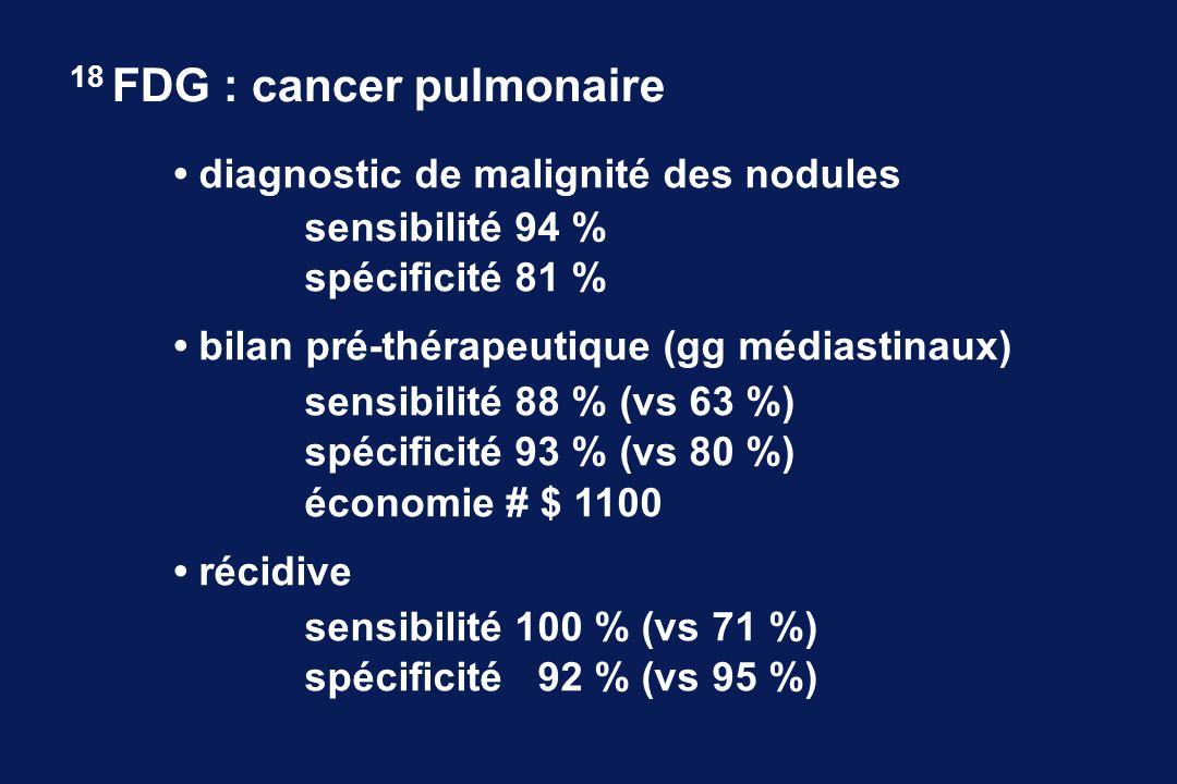 diagnostic de malignité des nodules sensibilité 94 % spécificité 81 % bilan pré-thérapeutique (gg médiastinaux) sensibilité 88 % (vs 63 %) spécificité 93 % (vs 80 %) économie # $ 1100 récidive sensibilité 100 % (vs 71 %) spécificité 92 % (vs 95 %) 18 FDG : cancer pulmonaire