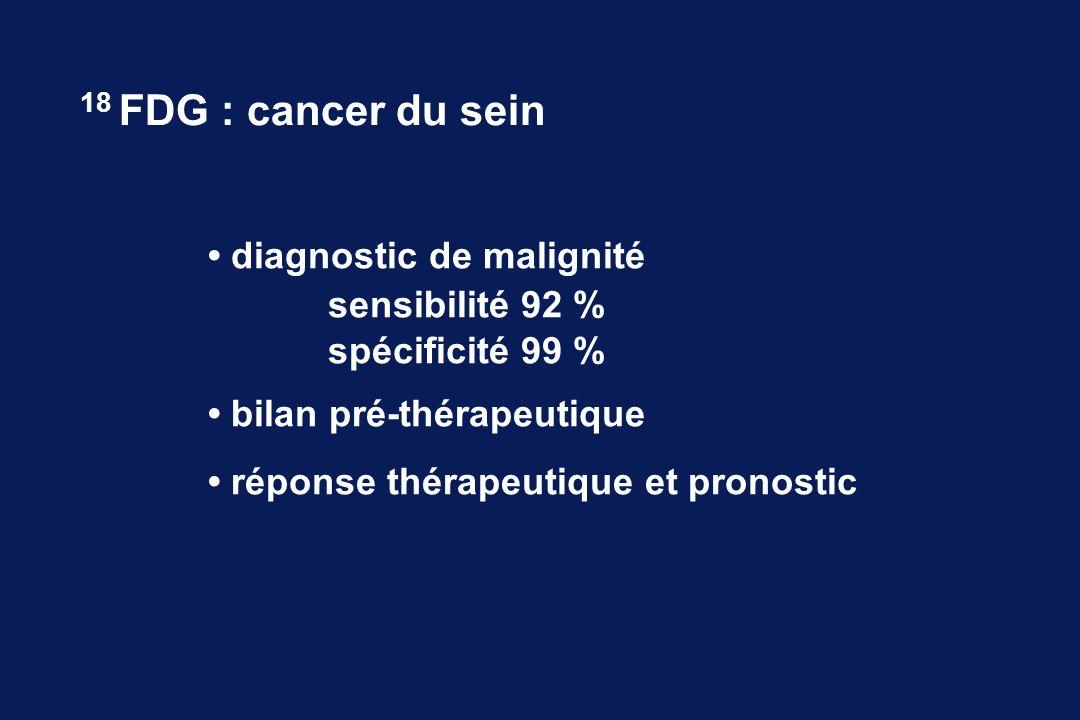 diagnostic de malignité sensibilité 92 % spécificité 99 % bilan pré-thérapeutique réponse thérapeutique et pronostic 18 FDG : cancer du sein