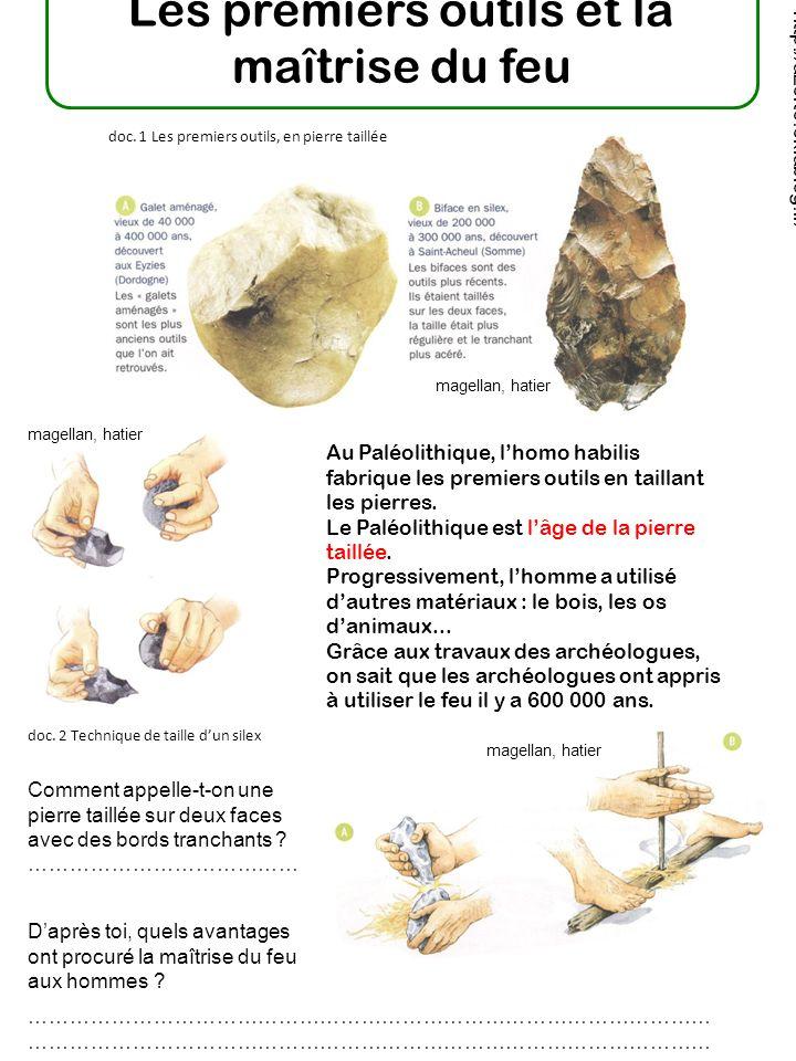 Les premiers outils et la maîtrise du feu Au Paléolithique, lhomo habilis fabrique les premiers outils en taillant les pierres.