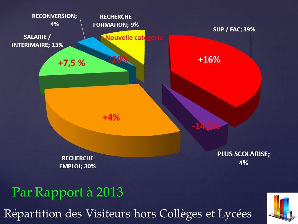 Répartition des Visiteurs hors Collèges et Lycées +16%-20% Par Rapport à 2013 +7,5 % +4% -14,5% Nouvelle catégorie