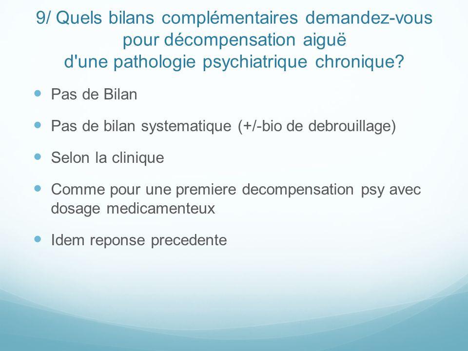 9/ Quels bilans complémentaires demandez-vous pour décompensation aiguë d'une pathologie psychiatrique chronique? Pas de Bilan Pas de bilan systematiq