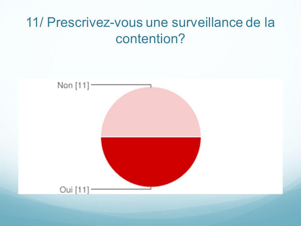 11/ Prescrivez-vous une surveillance de la contention?