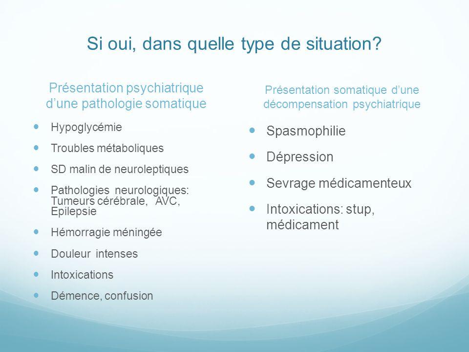 Si oui, dans quelle type de situation? Présentation psychiatrique dune pathologie somatique Hypoglycémie Troubles métaboliques SD malin de neuroleptiq