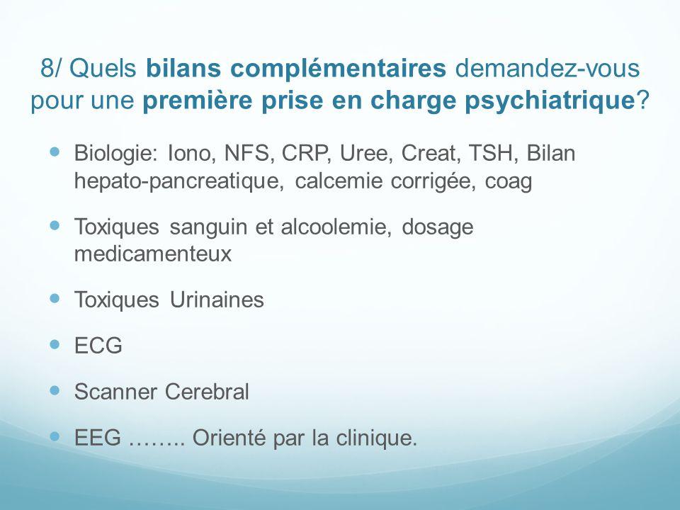 8/ Quels bilans complémentaires demandez-vous pour une première prise en charge psychiatrique? Biologie: Iono, NFS, CRP, Uree, Creat, TSH, Bilan hepat