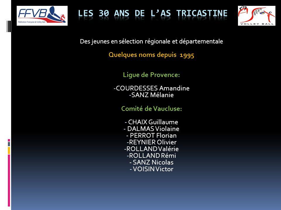 Des jeunes en sélection régionale et départementale Quelques noms depuis 1995 Ligue de Provence: - COURDESSES Amandine - SANZ Mélanie Comité de Vauclu