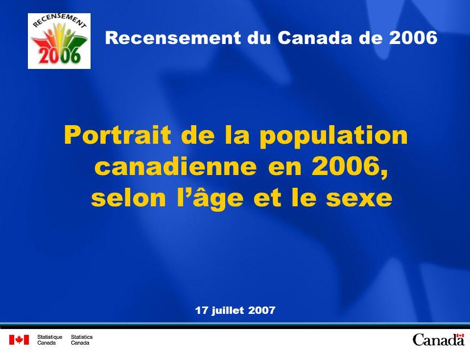 17 juillet 2007 Recensement du Canada de 2006 Portrait de la population canadienne en 2006, selon lâge et le sexe