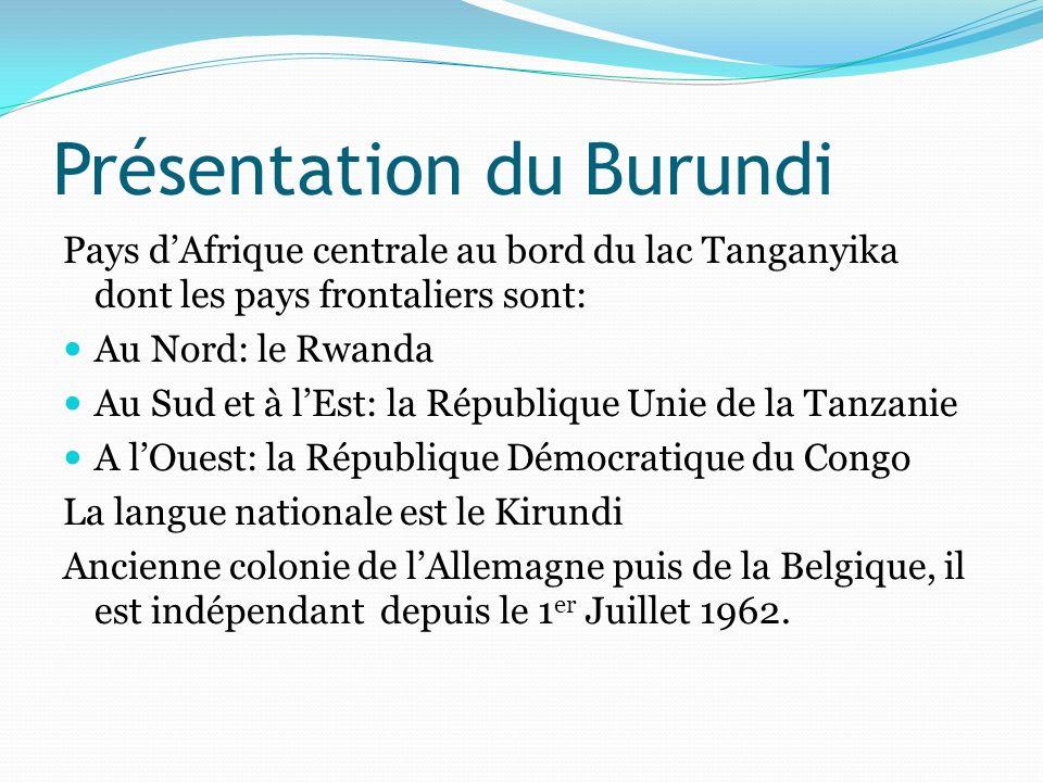 Présentation du Burundi Pays dAfrique centrale au bord du lac Tanganyika dont les pays frontaliers sont: Au Nord: le Rwanda Au Sud et à lEst: la Répub