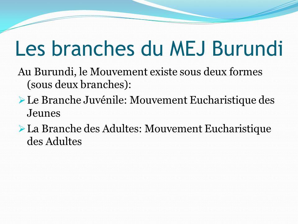 La branche Juvénile Dans le MEJ Burundi, on encadre les enfants et jeunes de 6 à 30 ans qui sont répartis en quatre groupes: De 6 à 10 ans: les Compagnons de Jésus (Ingendanyi za Kristu) De 11 à 15 ans : les Croisés (Interamiramusalaba) De 16 à 20 ans : les Apôtres (Intumwa) De 21 à 30 ans : le Témoins (Ivyabona)