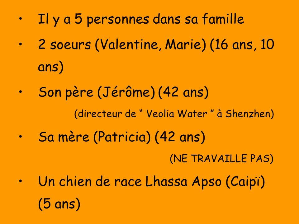 Il y a 5 personnes dans sa famille 2 soeurs (Valentine, Marie) (16 ans, 10 ans) Son père (Jérôme) (42 ans) (directeur de Veolia Water à Shenzhen) Sa mère (Patricia) (42 ans) (NE TRAVAILLE PAS) Un chien de race Lhassa Apso (Caipï) (5 ans)