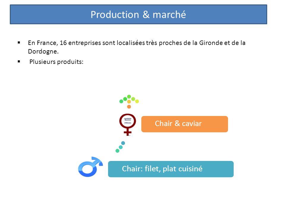 En France, 16 entreprises sont localisées très proches de la Gironde et de la Dordogne. Plusieurs produits: Production & marché Chair: filet, plat cui