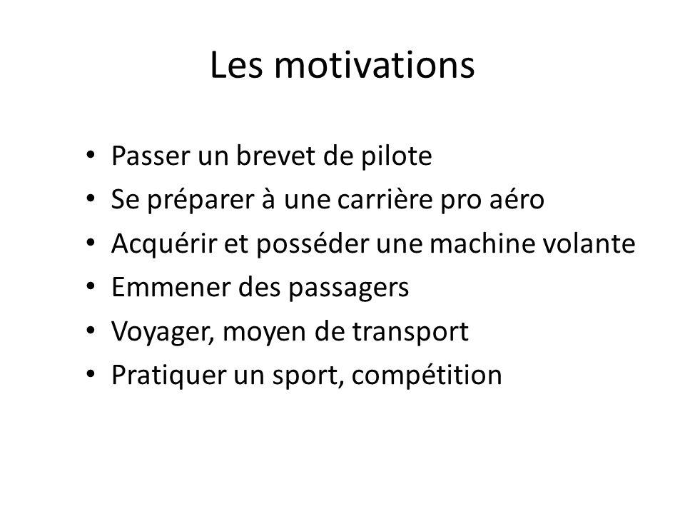 Les motivations Passer un brevet de pilote Se préparer à une carrière pro aéro Acquérir et posséder une machine volante Emmener des passagers Voyager, moyen de transport Pratiquer un sport, compétition