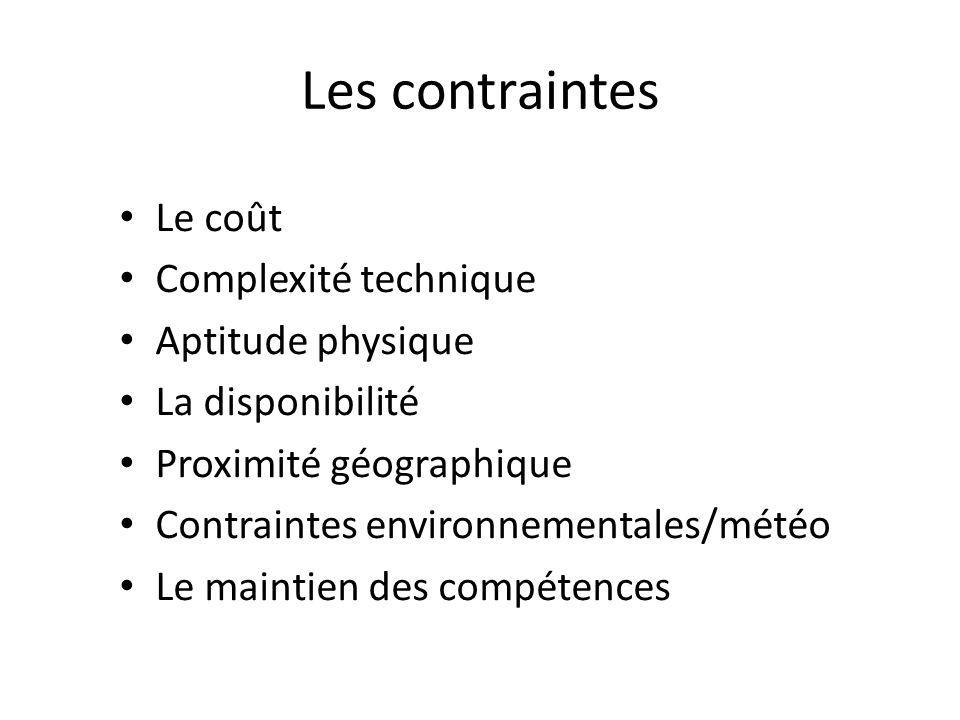 Les contraintes Le coût Complexité technique Aptitude physique La disponibilité Proximité géographique Contraintes environnementales/météo Le maintien des compétences