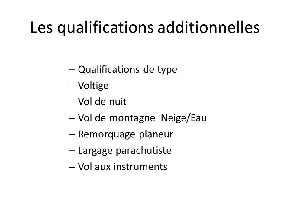 Les qualifications additionnelles – Qualifications de type – Voltige – Vol de nuit – Vol de montagne Neige/Eau – Remorquage planeur – Largage parachutiste – Vol aux instruments