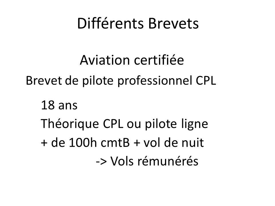 Différents Brevets Aviation certifiée Brevet de pilote professionnel CPL 18 ans Théorique CPL ou pilote ligne + de 100h cmtB + vol de nuit -> Vols rémunérés
