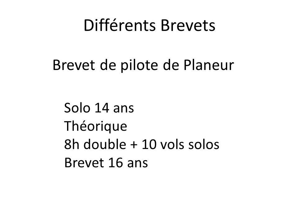 Différents Brevets Brevet de pilote de Planeur Solo 14 ans Théorique 8h double + 10 vols solos Brevet 16 ans