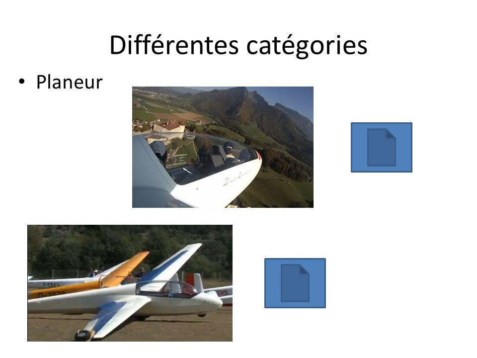 Différentes catégories Planeur