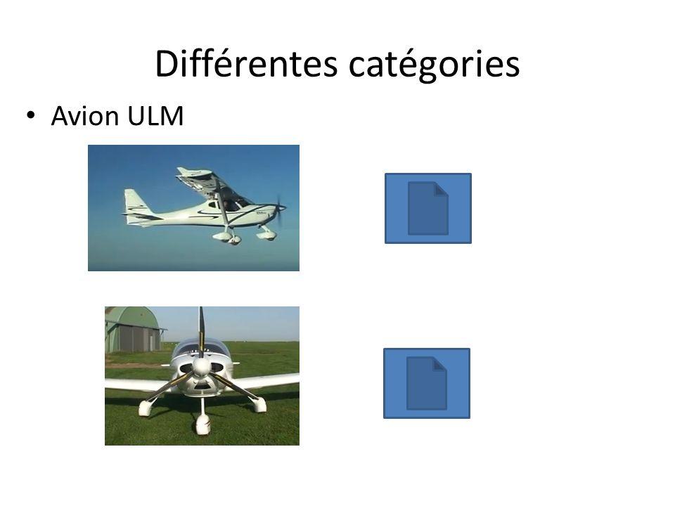 Différentes catégories Avion ULM