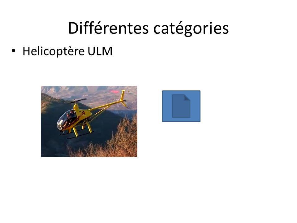 Différentes catégories Helicoptère ULM