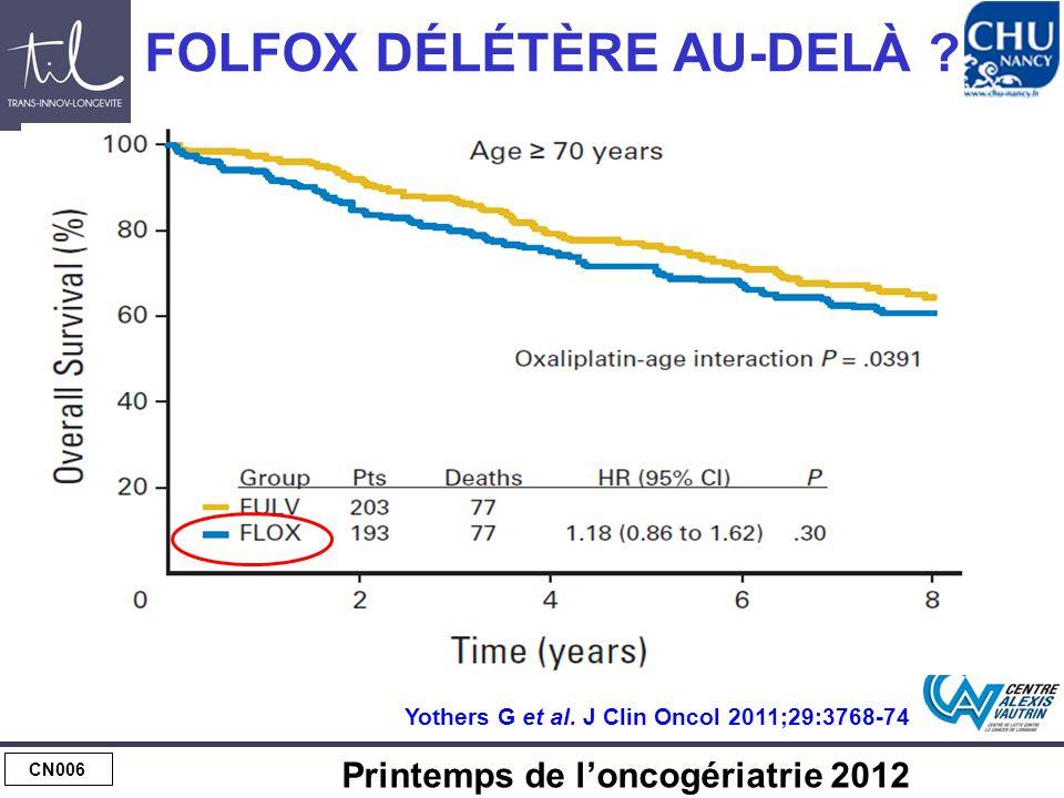 CN006 Printemps de loncogériatrie 2012 FOLFOX DÉLÉTÈRE AU-DELÀ ? Yothers G et al. J Clin Oncol 2011;29:3768-74