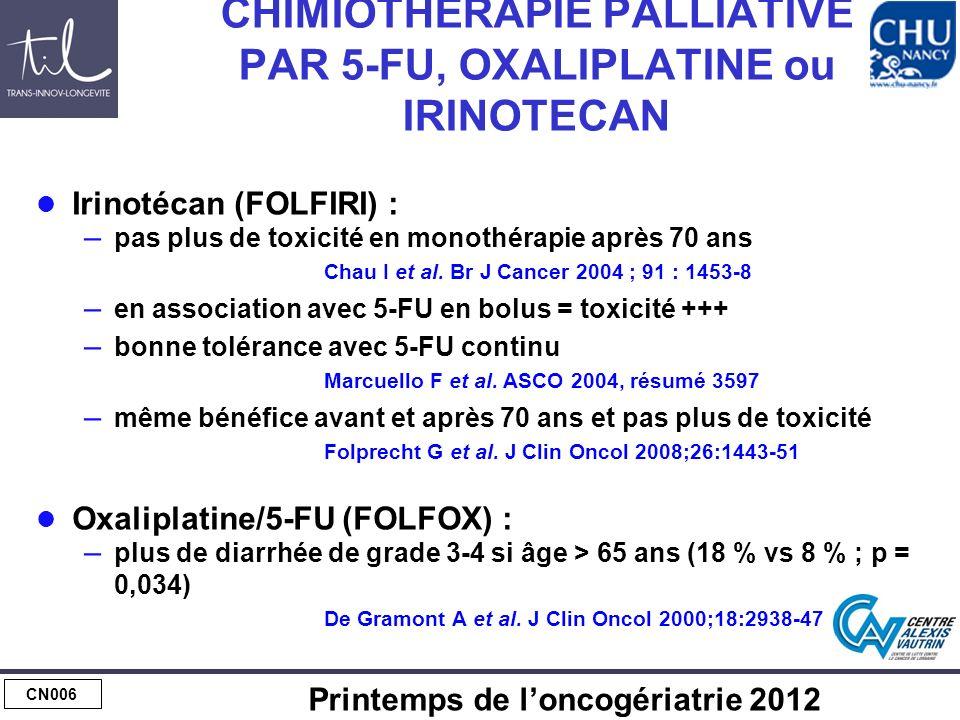 CN006 Printemps de loncogériatrie 2012 CHIMIOTHERAPIE PALLIATIVE PAR 5-FU, OXALIPLATINE ou IRINOTECAN Irinotécan (FOLFIRI) : – pas plus de toxicité en monothérapie après 70 ans Chau I et al.