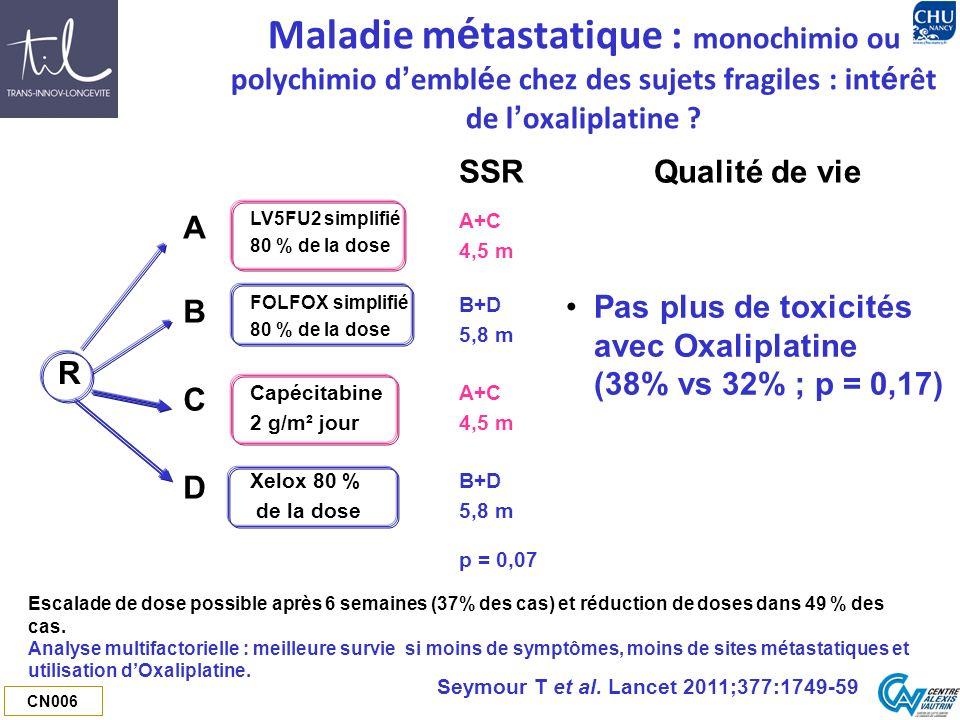 CN006 Maladie m é tastatique : monochimio ou polychimio d embl é e chez des sujets fragiles : int é rêt de l oxaliplatine ? SSRQualité de vie R A LV5F