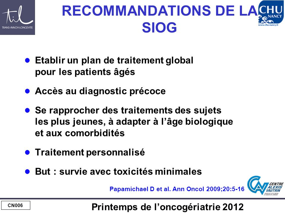 CN006 Printemps de loncogériatrie 2012 RECOMMANDATIONS DE LA SIOG Etablir un plan de traitement global pour les patients âgés Accès au diagnostic préc