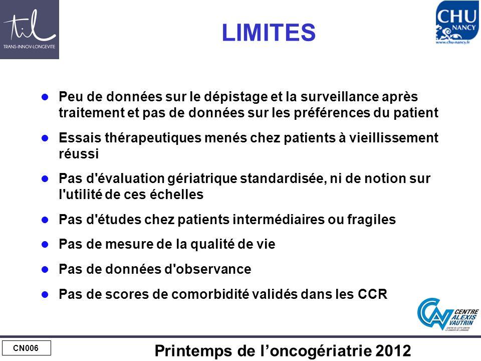 CN006 Printemps de loncogériatrie 2012 LIMITES Peu de données sur le dépistage et la surveillance après traitement et pas de données sur les préférenc