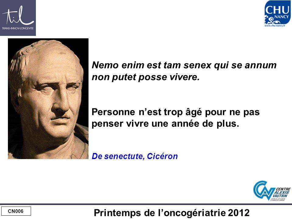CN006 Printemps de loncogériatrie 2012 Nemo enim est tam senex qui se annum non putet posse vivere.
