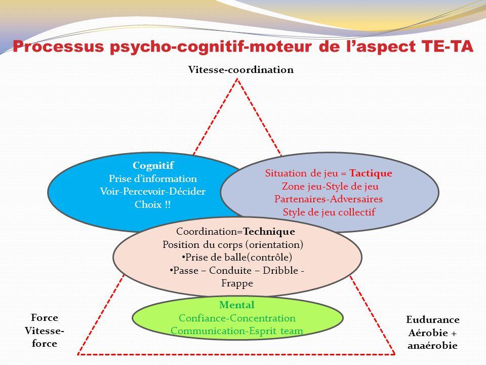 Processus psycho-cognitif-moteur de laspect TE-TA Cognitif Prise dinformation Voir-Percevoir-Décider Choix !! Situation de jeu = Tactique Zone jeu-Sty