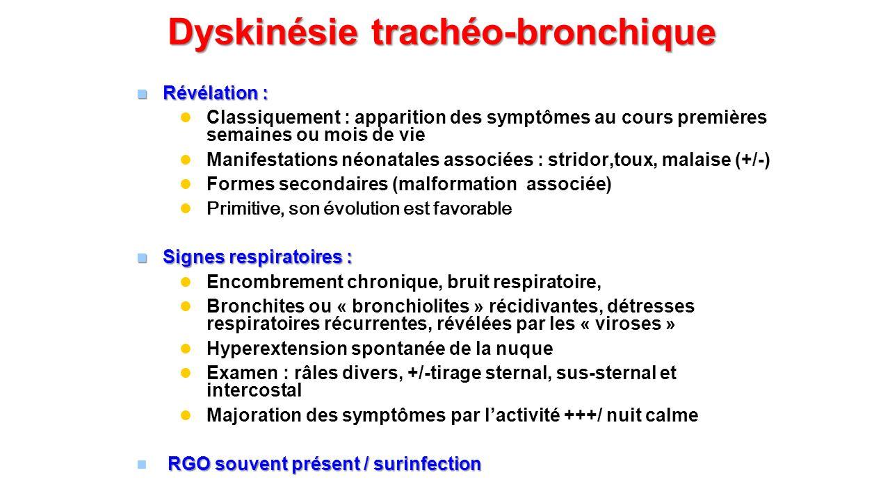 Dyskinésie trachéo-bronchique Révélation : Révélation : Classiquement : apparition des symptômes au cours premières semaines ou mois de vie Manifestat