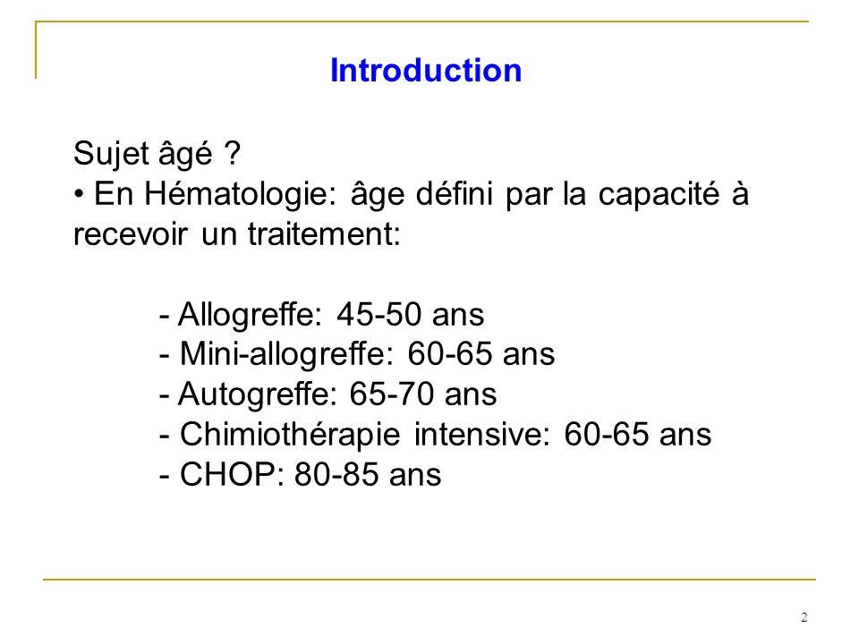 2 Sujet âgé ? En Hématologie: âge défini par la capacité à recevoir un traitement: - Allogreffe: 45-50 ans - Mini-allogreffe: 60-65 ans - Autogreffe: