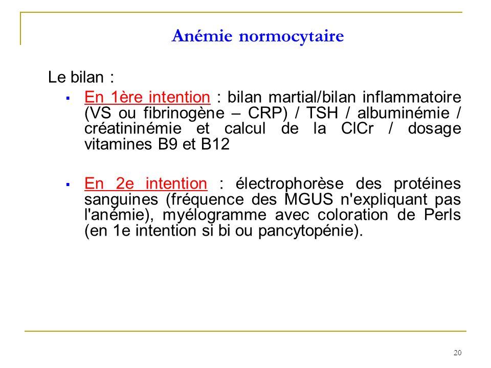 20 Anémie normocytaire Le bilan : En 1ère intention : bilan martial/bilan inflammatoire (VS ou fibrinogène – CRP) / TSH / albuminémie / créatininémie