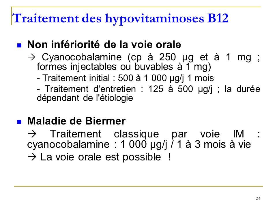 Traitement des hypovitaminoses B12 Non infériorité de la voie orale Cyanocobalamine (cp à 250 µg et à 1 mg ; formes injectables ou buvables à 1 mg) -