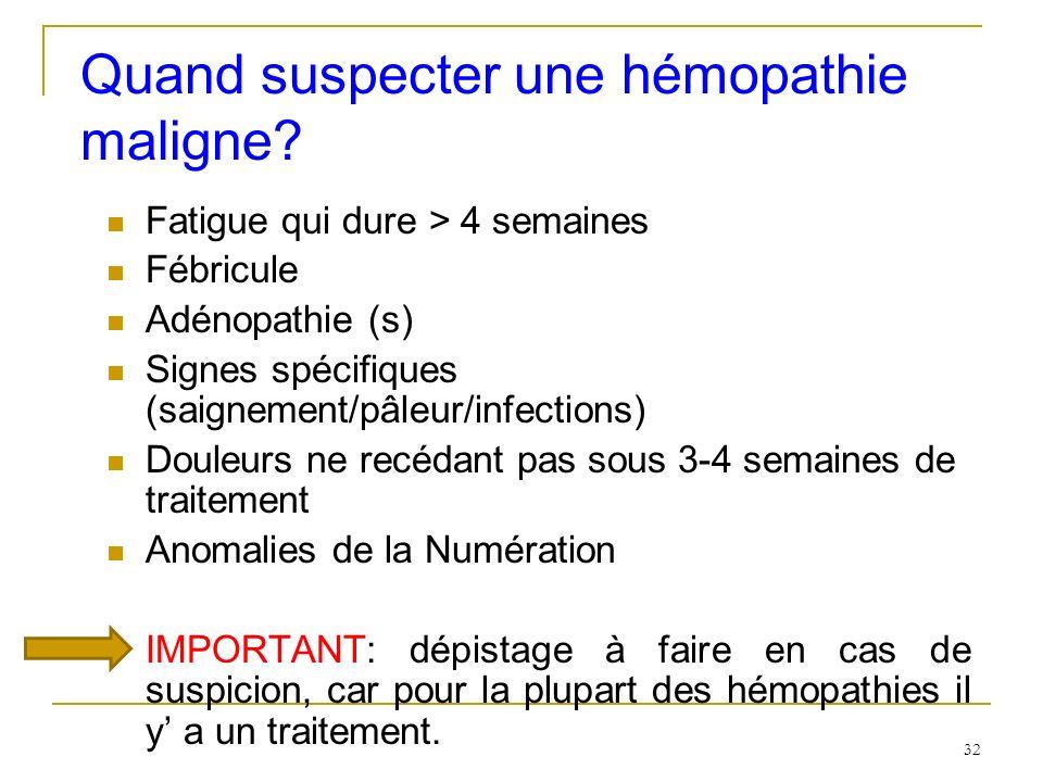 Quand suspecter une hémopathie maligne? Fatigue qui dure > 4 semaines Fébricule Adénopathie (s) Signes spécifiques (saignement/pâleur/infections) Doul